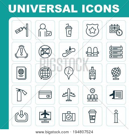 Travel Icons Set. Collection Of World Sphere, Takeaway Coffee, Timetable And Other Elements. Also Includes Symbols Such As Date, Waiting, Map.