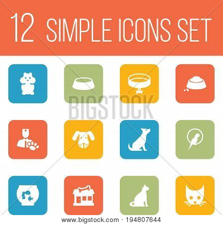 Set Of 12 Mammal Icons Set.Collection Of Store, Head, Dish And Other Elements.