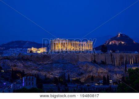 Night view of Acropolis, Athens, Greece