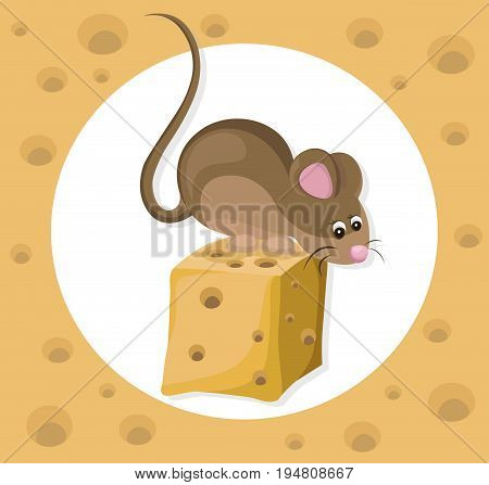Funny cute mouse character on a cheese slice. Cartoon Vector illustrations