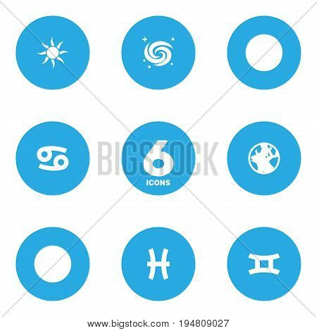 Set Of 6 Astrology Icons Set.Collection Of Earth Planet, Twins, Solar And Other Elements.