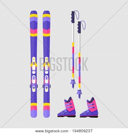 Pairs of skis, boots and poles, flat style vector illustration isolated on white background. Flat vector skis, boots and ski poles, winter sport, colorful illustration