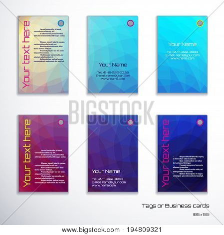 Set of six vertical business cards. Abstract multicolored polygonal vector background. Complied with the standard sizes.
