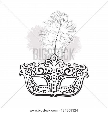 Beautifully decorated Venetian carnival mask with feathers and ornaments, sketch style vector illustration isolated on white background. Realistic hand drawing of carnival, Venetian mask