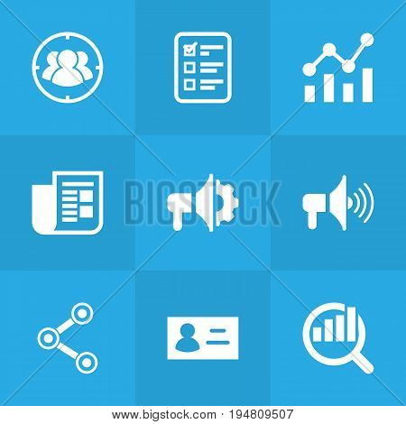 Set Of 9 Advertising Icons Set.Collection Of Id, Statistics, Group And Other Elements.