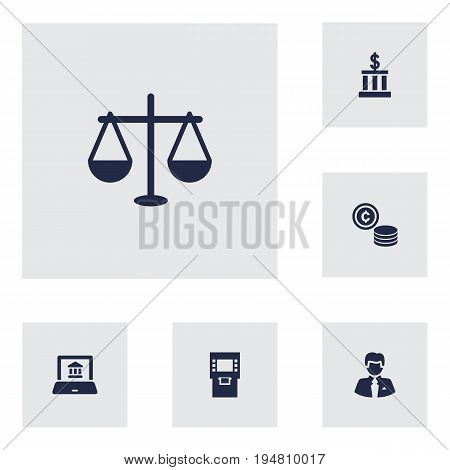 Set Of 6 Finance Icons Set.Collection Of Cash, Building, Electron Report And Other Elements.