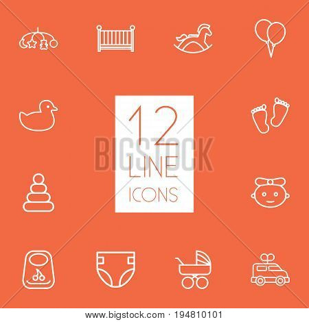 Set Of 12 Baby Outline Icons Set.Collection Of Crib, Carriage, Pyramid And Other Elements.