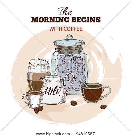 Morning coffee hand drawn round design with bevegares in cups roasted beans marshmallow and milk vector illustration