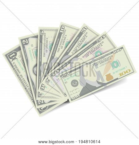 Dollars Banknote Stack Vector. American Money Bill Isolated Illustration. Realistic Money Stacks Concept. Cash Symbol Dollars. Every Denomination Of US Currency
