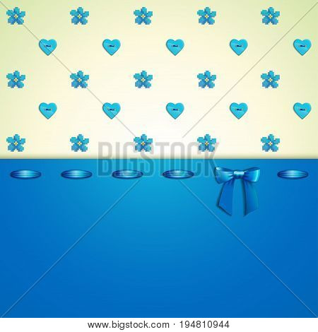 Seamless vector background. Pattern imitates embroidery cross stitch and beads. Forget-me-not button heart ribbon bow.