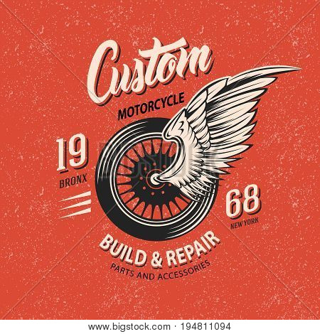 Motorcycle club emblem with winged wheel white and black inscriptions on terracotta grungy background vector illustration