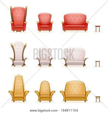 armchair throne sofa couch chair fairytale cartoon 3d retro isolated vintage icons set vector illustration