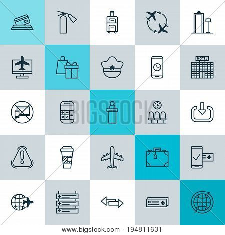 Transportation Icons Set. Collection Of Calculation, Crossroad, Worldwide Flight And Other Elements. Also Includes Symbols Such As Resort, Payment, Cap.