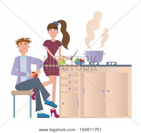 Couple cooking dinner at home in the kitchen. Young man and woman preparing food at the kitchen table. Vector illustration, isolated on white background.
