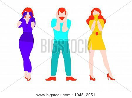 Flat three people concept with women and man covering eyes ears mouth like monkeys hear see speak no evil isolated vector illustration