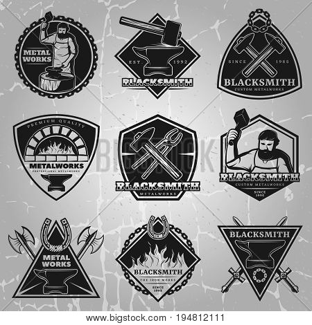 Premium blacksmith emblems set in black colors with master weapons and equipment on vintage background isolated vector illustration