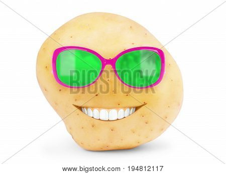 New potato isolated on white background close up With teeth and glasses