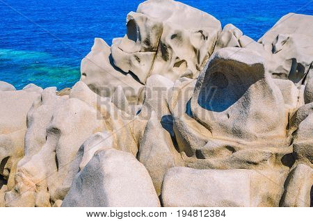Granite rocks on Capo Testa on sunny day near Santa di Gallura, Sardinia, Italy.
