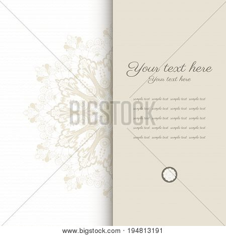 Vector card. Vintage round damask pattern. Place for your text. Perfect for greetings invitations or announcements.