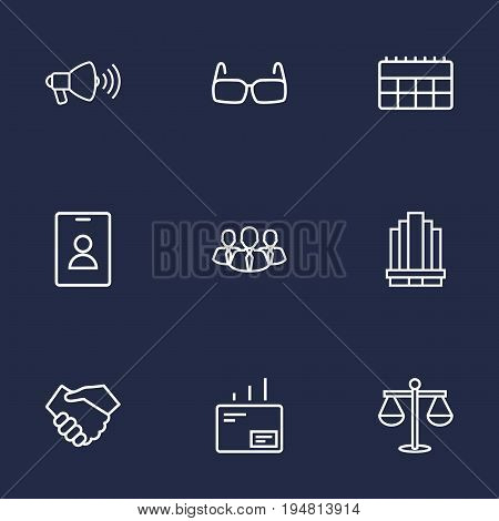 Set Of 9 Trade Outline Icons Set.Collection Of Glasses, Badge, Business Center And Other Elements.
