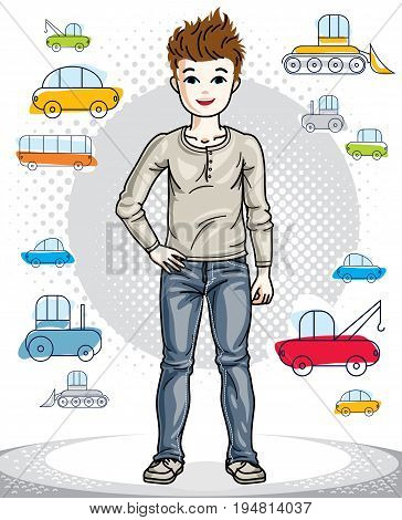 Young teen boy cute children standing in stylish casual clothes. Vector pretty nice human illustration. Fashion and lifestyle theme cartoon.