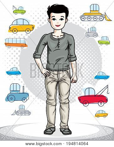 Young teen boy cute children standing wearing fashionable casual clothes. Vector human illustration. Fashion and lifestyle theme cartoon.