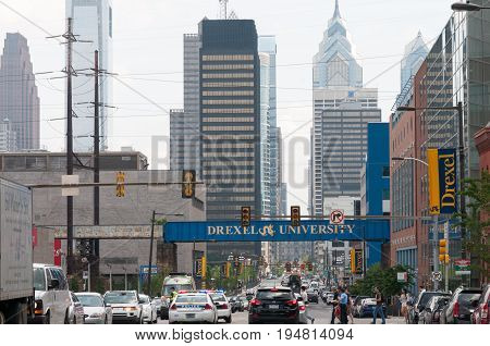 PHILADELPHIA, PA - JUNE 13: View of Drexel University Campus in the University City section of West Philadelphia on graduation day on June 13, 2014