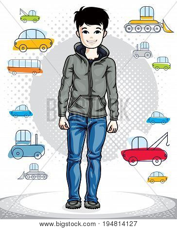 Beautiful nice young teenager boy posing in stylish casual clothes. Vector human illustration. Childhood lifestyle clip art.