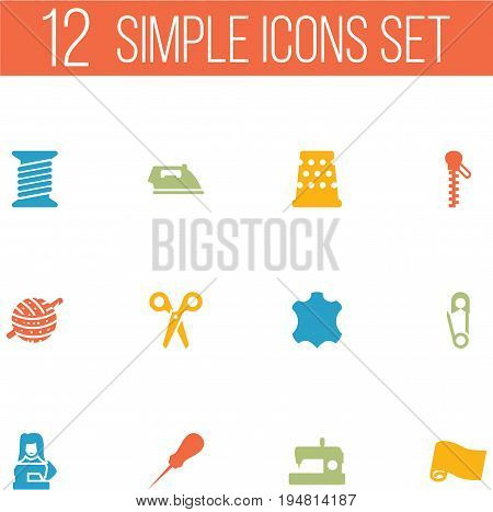 Set Of 12 Sewing Icons Set.Collection Of Roll, Fastener, Bodkin And Other Elements.