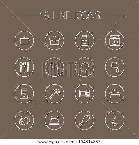 Set Of 16 Culinary Outline Icons Set.Collection Of Scales, Kettle, Pan And Other Elements.