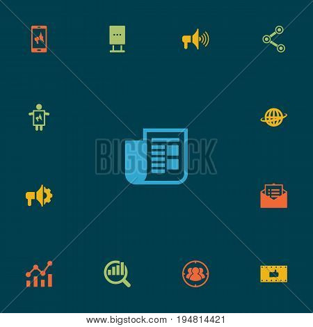 Set Of 13 Trade Icons Set.Collection Of Message, Loudspeaker, Application And Other Elements.