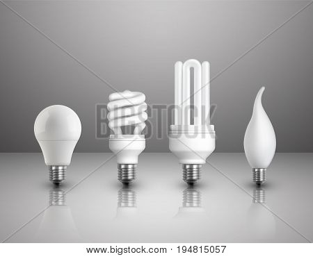 Realistic electric lightbulbs set of different types constructions and shapes on glossy background isolated vector illustration