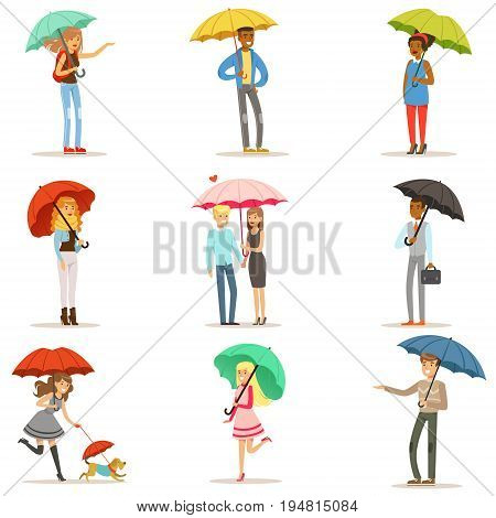 Set of people with colorful umbrellas. Smiling man and woman walking under umbrella colorful characters vector Illustrations isolated on white background