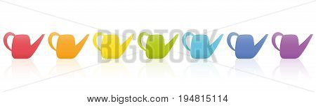 Watering cans - rainbow color collection - seven different items. Isolated vector illustration on white background.