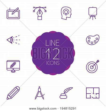 Set Of 12 Constructive Outline Icons Set.Collection Of Concept, Property Plan, Bezier Curve And Other Elements.