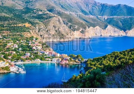 Traditional fishing village of Assos at Kefalonia island in Greece.