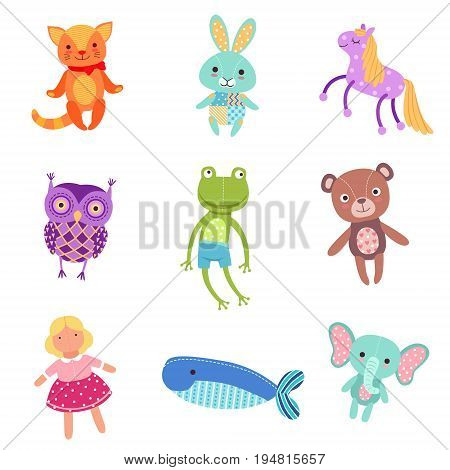 Set of cute colorful soft plush animal toys vector Illustrations isolated on white background