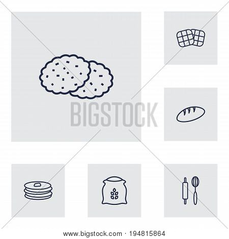 Set Of 6 Cooking Outline Icons Set.Collection Of Waffle, Rolling Pin, Cookie And Other Elements.