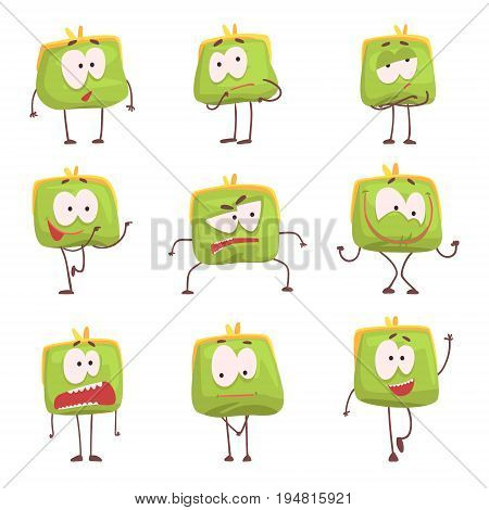 Cute green humanized purse with funny faces set of colorful characters vector Illustrations isolated on white background