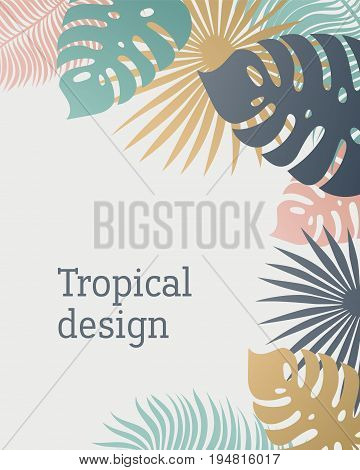 Tropical leaf template in pastel colors. Summer tropical design with exotic palm leaves. Monstera, palm, banana leaves. Exotic botanical design. Summer jungle design. Hawaiian style. Vector illustration.