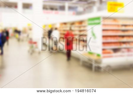A blurred background can be an illustration to the article about shopping malls supermarkets and hypermarkets