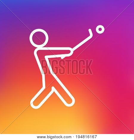 Isolated Golf Outline Symbol On Clean Background. Vector Stick Element In Trendy Style.