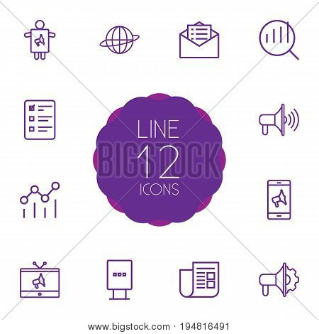 Set Of 12 Advertising Outline Icons Set.Collection Of Email Promotion, Tv, Promotion And Other Elements.