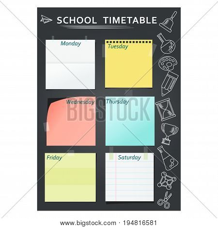 Black template of school week schedule for students, schoolchildren and teachers. School timetable. Flat vector cartoon illustration. Objects isolated on a white background.