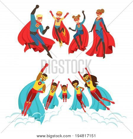 Happy family of superheroes set. Smiling parents and their children dressed as superheroes colorful vector illustrations isolated on a light blue background