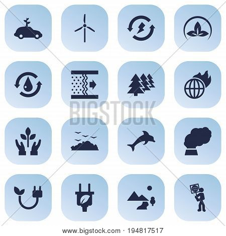 Set Of 16 Atmosphere Icons Set.Collection Of Contamination, Reforestation, Protection And Other Elements.