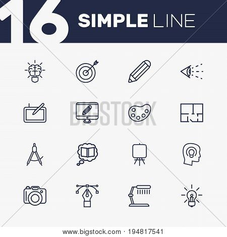 Set Of 16 Constructive Outline Icons Set.Collection Of Property Plan, Bezier Curve, Knowledge And Other Elements.