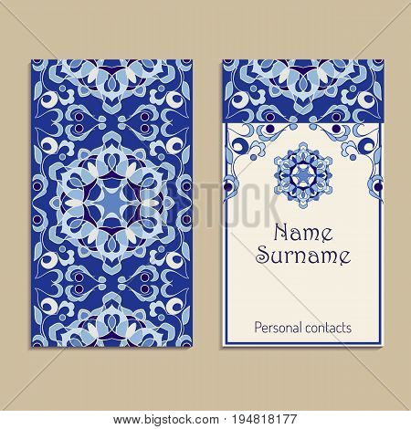 Set of vector business card templates. Portuguese, Moroccan, Azulejo, Arabic, asian ornaments. Geometric and floral motifs