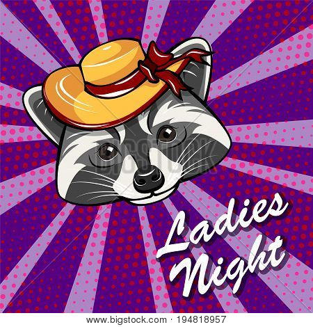 Cute raccoon girl portrait with wide-brimmed hat. Ladie s night badge. Vector illustration