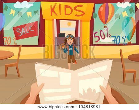 Retro cartoon kid running off composition with first person view in front of shop window vector illustration